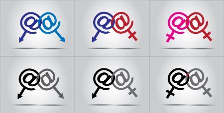 online dating lovers gay lesbian couple family concept illustration using male female symbols Illustration