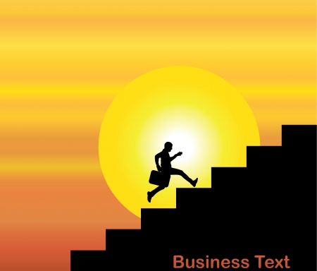 leap: A businessMan running up the stairs which are with the text business text with a bright orange evening sky with big yellow sun at sunrise or sunset in the background