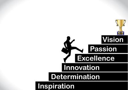 Een professionele zakenman loopt de trap op met de tekst inspiratie, doorzettingsvermogen, innovatie, kwaliteit, passie, visie met een helder witte achtergrond - concept vector illustratie kunst