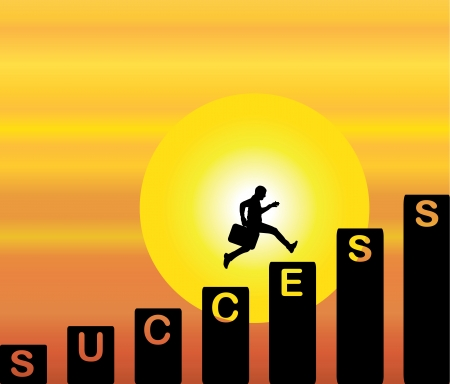 A professional businessman running up the stairs which are with the text success with a bright orange evening sky with big yellow sun in the background Vector