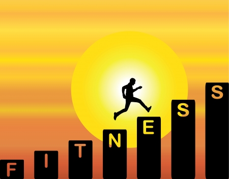 happiness people silhouette on the sunset: Fit Man running up the stairs which are with the text fitness with a bright orange evening sky with big yellow sun at sunrise or sunset in the background