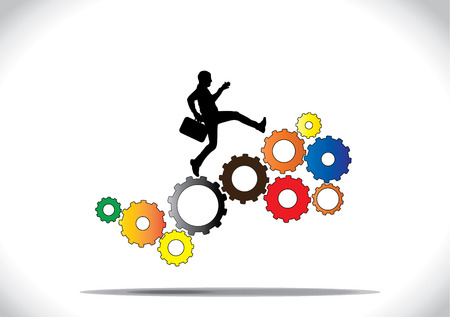 synchronously: A profession businessman running up the colorful gears which are co-ordinating with each other to rotate synchronously with a bright white background - concept design vector illustration art