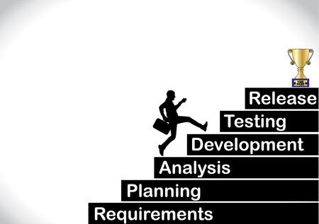 Een beroep zakenman loopt de trap op, die met de verschillende stadia van de ontwikkeling van software levenscyclus met een helder witte achtergrond - concept vector illustratie kunst