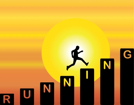leap: A Man running up the stairs which are with the text running with a bright orange evening sky with big yellow sun at sunrise or sunset in the background