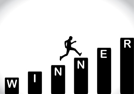 A fit healthy man running fast up the stairs which are with the text winner with a bright white background - concept design vector illustration art