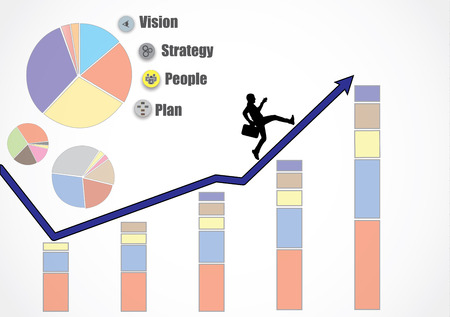 long term goal: Business man running up an growth arrow heading for more growth, revenue, profits, turnover because of strategy, people, plan and vision, bar and pie chart - Concept design vector illustration art  Illustration
