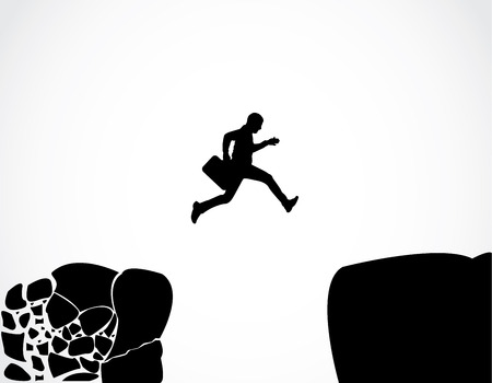 safer: Businessman with a briefcase jumping from a crumbing mountain rock to another safer rock Concept design vector illustration art of reaching safety from an risky unsafe business environment