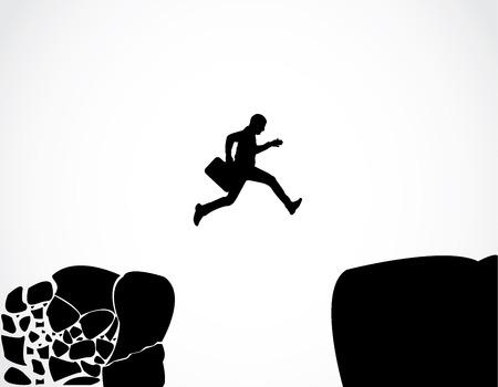 environnement entreprise: Homme d'affaires avec une serviette en sautant d'un rocher de montagne �miettage � un autre vecteur de conception de roche Concept illustration art plus s�r de parvenir � la s�curit� d'un environnement d'affaires dangereux risqu�