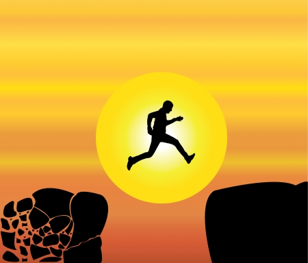 safer: Concept design vector illustration art of young fit man jumping from a crumbing mountain rock to another safer rock on a bright orange morning or evening sky and yellow sun in the background
