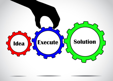 executing: converting idea into solution by executing plans concept using colorful gears with bright glowing white background- business success concept illustration vector design art