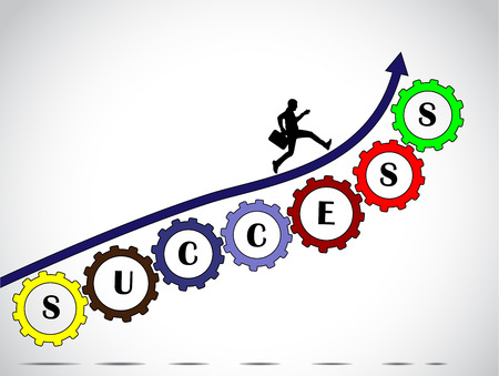 A businessman making significant progress by climbing an arrow along set of colorful gears with success text with bright glowing white background - concept design vector illustration art