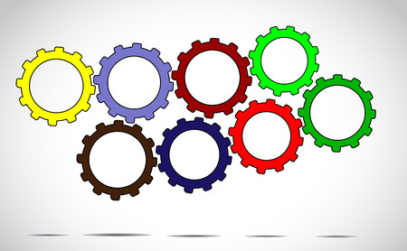 next to each other: team work or success concept design vector illustration art - different colorful cog wheels or gears next to each other with bright white background