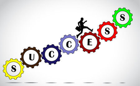A businessman making significant progress by climbing set of colorful gears with success text with bright glowing white background - concept design vector illustration art