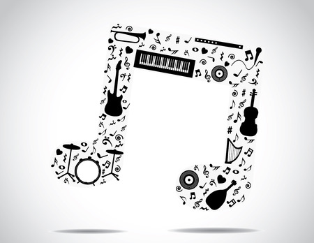 discs: music note icon made up of different musical instruments and notes with a bright white background   concept design vector illustration unusual art Illustration