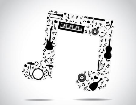 muzieknoot icoon opgebouwd uit verschillende muziekinstrumenten en notities met een helder witte achtergrond concept vector illustratie ongewone kunst
