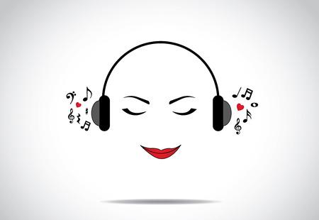 아름 다운 젊은 여자 또는 닫힌 된 눈을 가진 멋진 음악을 듣는 소녀 또는 여성 그림 - 사랑의 음악 개념 디자인 벡터 일러스트 레이 션 특이한 예술