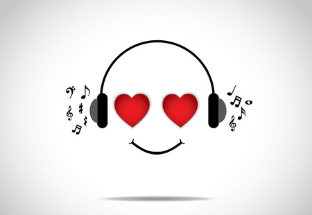 interesting music: young happy persion illustration of listening to great music with heart shaped eyes - love music concept design vector illustration unusual art  Illustration