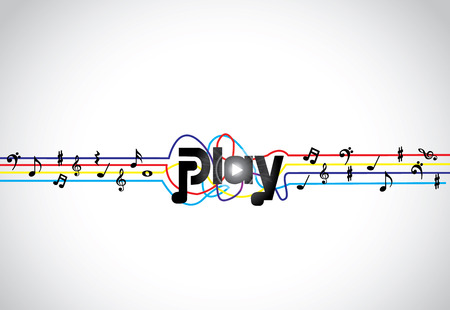 music banner: Trendy Music play icon or symbol with glowing play text art with colorful tones and notes   concept design vector illustration art