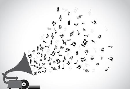 Grammofoon silhouet langzaam speelt rustgevende muziek en verschillende noten die uit de luidspreker met meer schijven geplaatst naast de speler
