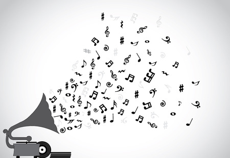 music banner: Gramophone silhouette playing slow soothing music and different notes flowing out of the speaker with more discs placed next to the player