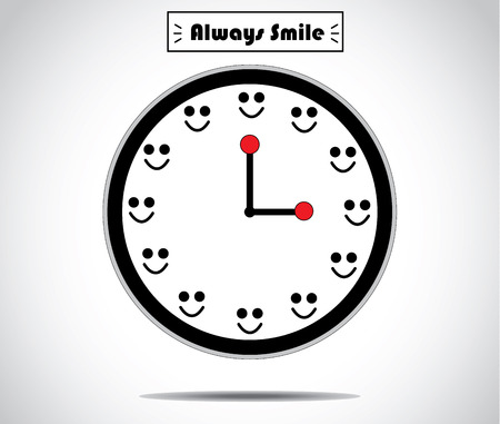 smile clock with hours replaced by a smile human smile - simple optimism concept unusual artwork vector design illustration Illustration
