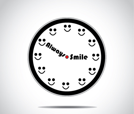 happy hours: smile clock with hours replaced by a smile human smile - simple optimism concept unusual artwork vector design illustration Illustration