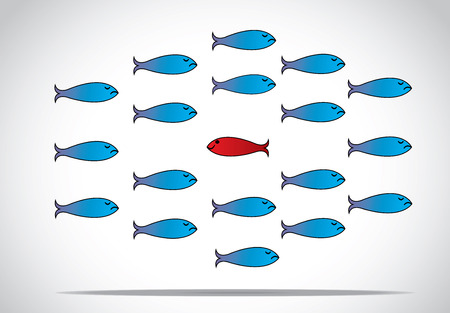 a sharp smart alert happy red fish with open eyes going in the opposite direction of a group of sad blue fishes with closed eyes   Be different or unique concept design vector illustration Çizim