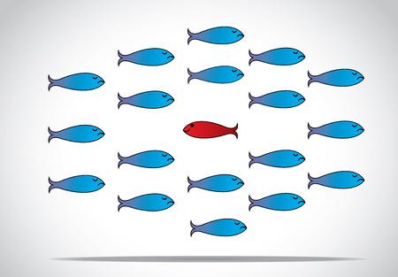 Un avviso di pesce felice intelligente affilato rosso con gli occhi aperti che va nella direzione opposta di un gruppo di triste pesci blu con gli occhi chiusi Essere diverso o unico design illustrazione vettoriale concetto Archivio Fotografico - 25332122