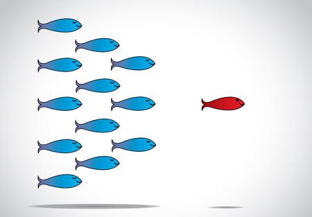 conceito: um peixe afiada inteligente alerta vermelho feliz com os olhos abertos liderando um grupo de peixes azuis felizes com l