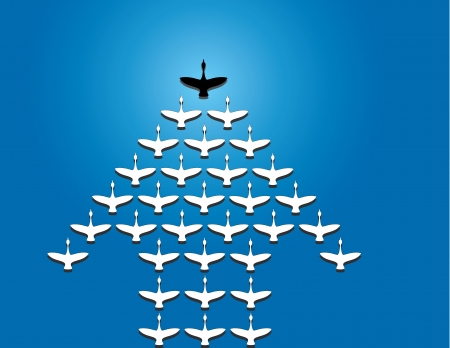 follow the leader: Leiderschap en teamwork concept ontwerp vector Illustratie ongewone kunst Een aantal Zwanen vliegen tegen een heldere blauwe water achtergrond voorsprong door een grote donkere leider zwaan Silhouet