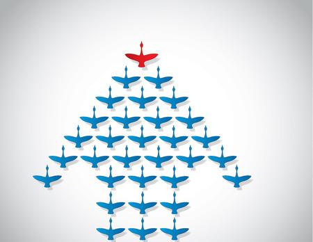 Leiderschap en teamwork concept ontwerp vector Illustratie ongewone kunst Een aantal Zwanen vliegen tegen een heldere witte achtergrond voorsprong door een grote donkere rode leider zwaan Silhouet Stock Illustratie