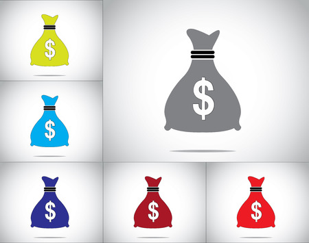 dollar money bag icon set concept vector design illustration art  different colorful money bag icons with dollar sign in front