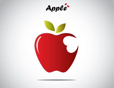 bite: a red colorful shiny apple with green leaves with a heart shaped bite - concept design vector illustration unusual art