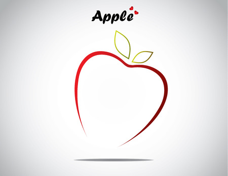 half apple: unique love apple fruit concept design vector illustration unusual artwork   Apple in the shape of a simple love with green shiny leaves and apple text and bright white background Illustration