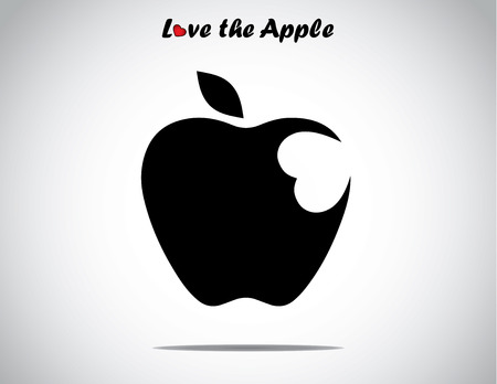 bite apple: an apple with a leaf with a heart shaped bite icon - concept design vector illustration unusual art  Illustration