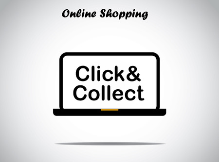 online shopping concept design vector illustration unusual art   click and collect text displayed on a black laptop with bright white background