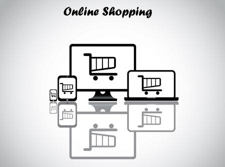 las compras en línea de diseño ilustración vectorial concepto de arte inusual carrito de compras carro que aparece en los cuatro dispositivos electrónicos - sobremesa, portátiles, tablets y teléfonos inteligentes con fondo blanco brillante