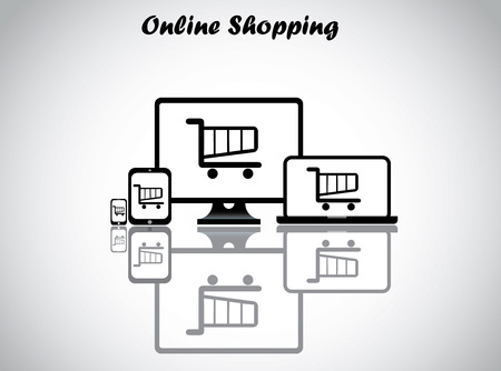 e commerce icon: online shopping concept design vector illustration unusual art   shopping cart trolley displayed on all four electronic devices - desktop, laptop, tablet and smartphone with bright white background