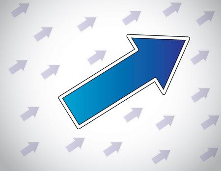 followers: grande colorato freccia blu che porta altre frecce in movimento su successo capo multicolor o leadership o guidare la folla o seguaci concetto di design illustrazione vettoriale insolito arte