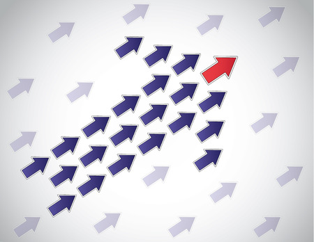 colorful arrow of arrows moving up lead by red arrow leading  Leader leadership concept design vector illustration unusual art with bright white background and other arrows moving in same direction