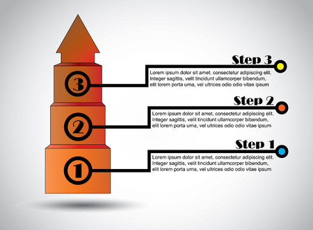 growing business: Success steps business proposal infographics successful growth  Three step colorful infographic for growing business revenue and profits - concept design vector illustration art
