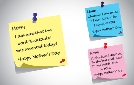 Different colorful happy mothers day quotes note set.  Vector