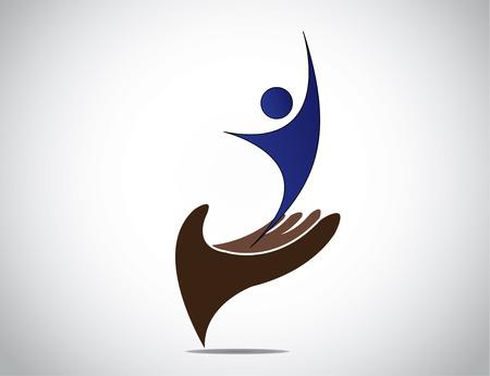 Succesvol talent management van jongere en vrouw begrip silhouet. Stock Illustratie