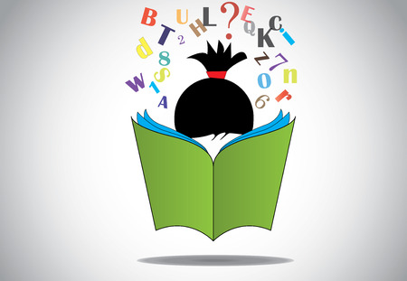 young smart girl kid reading 3d green open book education concept  Illustration