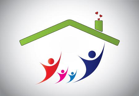 happy family concept: happy family - concept illustration Illustration