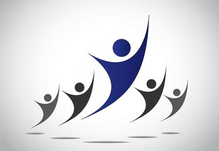 Een leider of het hoofd van het team of familie dansen of springen met vreugde, geluk voor succes en overwinning behaald - abstracte kunst Stock Illustratie