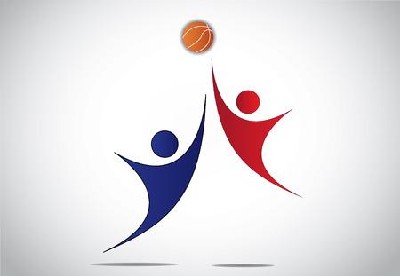 Twee jonge spelers jongen meisje mensen spelen basket bal concept jeugdige kinderen of kinderen springen met handen omhoog in de lucht proberen om de oranje bal vangen tijdens een wedstrijd - vector illustratie kunst