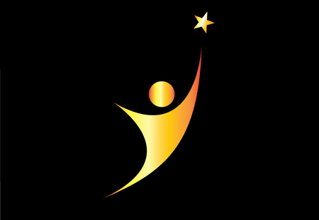 perfection: Young gold person aiming for excellence achievement success star. Youthful golden person aiming for the shining star, achieve ultimate greatness or dream goal or perfection in life - concept symbol