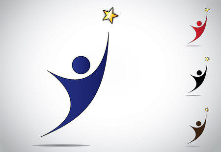 achieve: Colorful person winning or achievement success symbol icon. An ambitious man or woman reaching out to achieve high goals and golden star with white background - concept design illustration artwork set