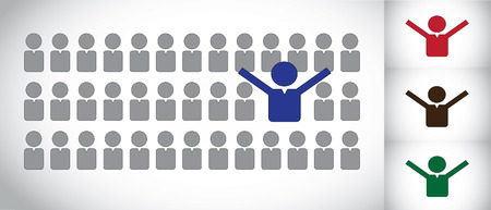 inactive: Young winner or successful person or candidate choice concept art. Blue happy human man with hands up in joy and happiness with others inactive - best choice or person concept illustration vector art Illustration